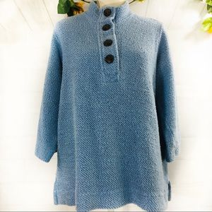 Soft Surroundings Blue 4 Button Sweater PM